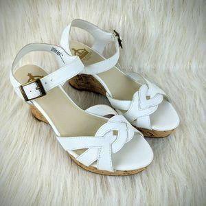 Crown Vintage White Platform Cork Wedge Sandals